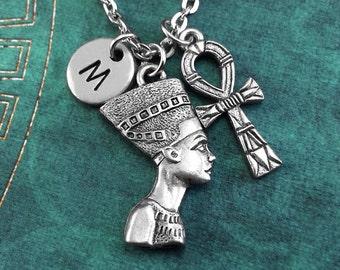 Nefertiti Necklace, SMALL Ankh Necklace Personalized Necklace, Egyptian Pendant, Custom Necklace, Initial Necklace Engraved Charm Keychain