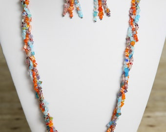 Braided Multi Colored Millefiori Beaded Necklace and Earrings - Bead Jewelry Set - Acrylic - Braid