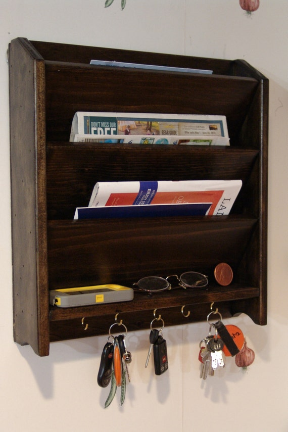 Mail Letter Rack Handcrafted Wood Organizer Key Holder Sorter