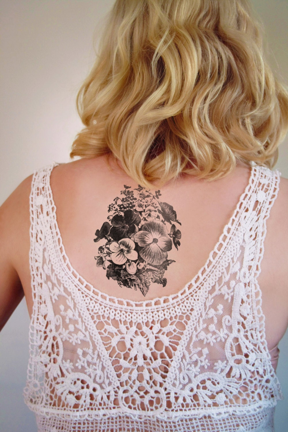 Large floral arrangement temporary tattoo floral by for Floral temporary tattoos