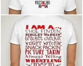 Wrestling Mom t-shirt  Shoe Findin, Singlet Washin, Bracket Checkin, Pic Takin, Alway Yelling Wrestling Mom Shirt Top S M L XL XXL