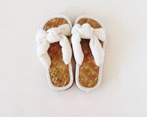 White Cotton Slip on and Thong Sandals for Men / Women / Kids