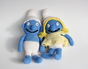 Vintage Smurf Crochet Doll Pair - Smurfette and Boy Smurf Stuffed Toys