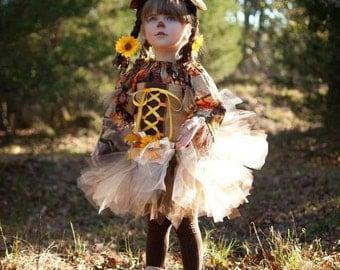Boutique custom handmade pageant Scarecrow girl fall harvest princess costume