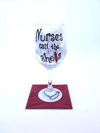 Nursing hand painted wine glass