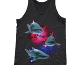 Sharks in Space Tank Top -  Unisex Sizes XS-2X - Cool Shark Shirt