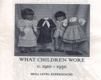 16 or 18 Inch Doll Sewing Pattern What Children Wore 1910-1950s Classic 1920s 1930s 1940s American Girl Type Samantha Molly Kit Past Crafts