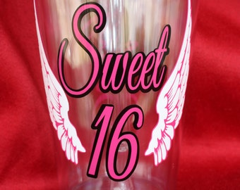 Sweet 16 Tumbler. Cup for 16th Birthday. Party gift.Sweet 16 (item #3-2-S16)