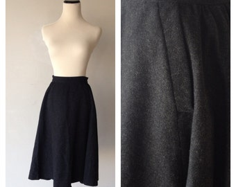 Vintage Dark Charcoal Gray Wool Skirt with Pockets - 1940s Style, Junior Miss of California