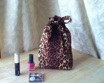 Leopard Drawstring Cosmetic Pouch