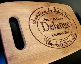 Cheese Tray Engraved and Carved Custom Cutting Board Chopping Block Personalized Cutting Board