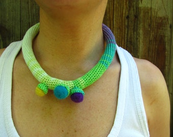 Pastel Crochet Necklace, Fiber Choker, Contemporary Crochet Tube Necklace, Green Blue Necklace, Bohemian Handmade Necklace, Textile Jewelry