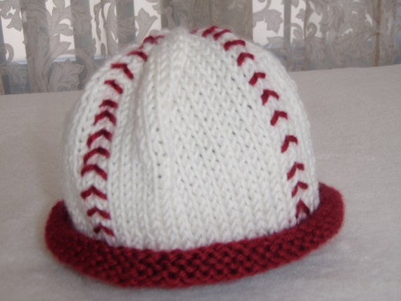 Knit baseball baby hat First Halloween Newborn by KnitWithPleasure