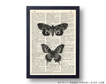 Butterflies Wall Art Print, Butterfly Dictionary Print, 8x10 Wall Decor, Vintage Dictionary Page Print, Poster, Wall Decal