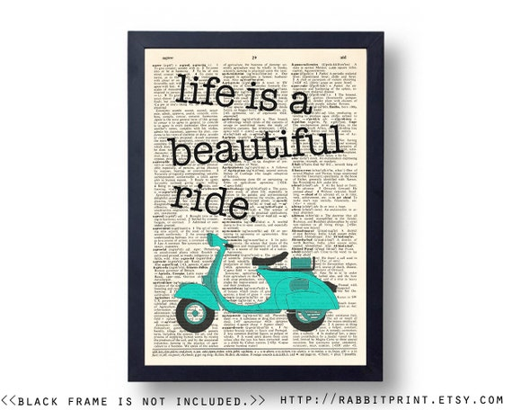 Items Similar To Life Is A Beautiful Ride Dictionary Art