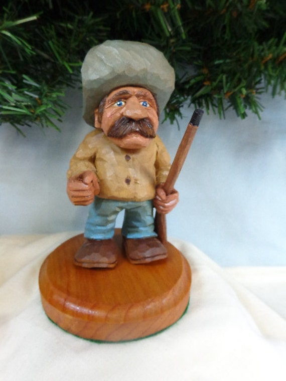 Hand carved wood cowboy caricature carving western