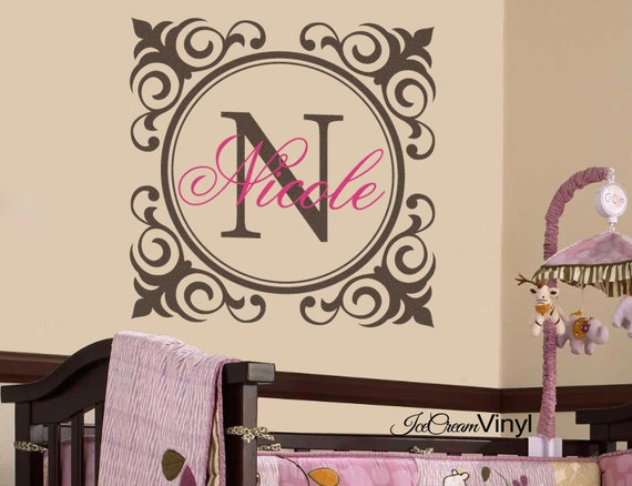 Name Wall Decal Monogram Vinyl Wall Decal for Nursery Baby Girl Vinyl Wall Decor Vinyl Lettering