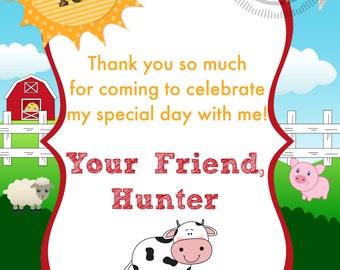 Farm / Barnyard / Barn / Animal Birthday Party Thank You Note