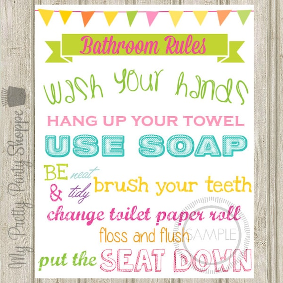 Printable 8x10 Bathroom Rules Sign / Wall Art INSTANT