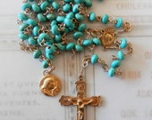 Rosary - Turquoise Saint Mary Magdalene Rosary - 24K Gold Vermeil Crucifix and Center
