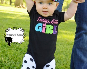 Daddy's Little Girl- Girls Applique Black Shirt or Bodysuit & Matching hair bow set
