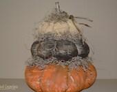 Primitive Grungy Fabric Stacking Pumpkins - Fall Decor- Shelf Sitter - Handmade