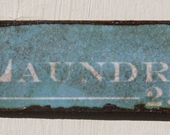 Miniature Dollhouse Vintage Inspired Tin Sign - Blue Laundry Sign