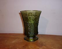 Green Goblet Green Glass Wide Vase Grape Vase Green Vase Grape Imprint