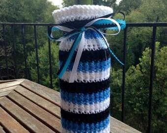 Carolina Panthers Crochet Wine Bottle Cozy