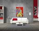 Red nude, Muse with long neon hair, back view, modern art, 60 cm (width) x 80 cm (height)