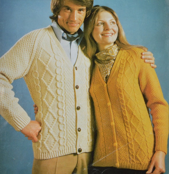 Vintage Aran Cardigan Knitting Pattern : PDF his n her aran cable cardigan vintage knitting pattern pdf