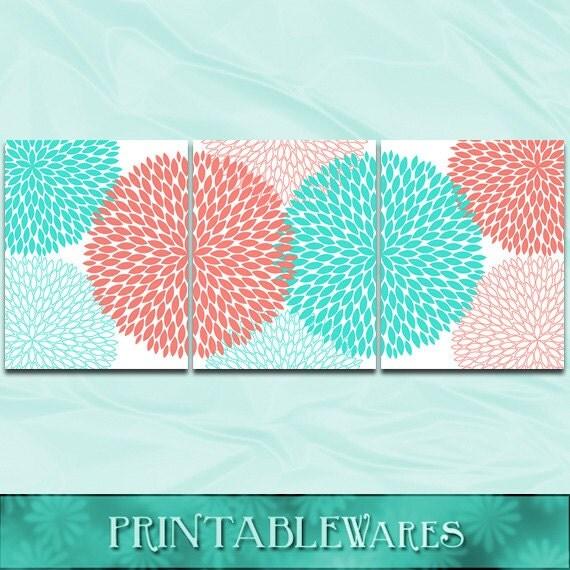 Coral Turquoise Nursery Wall Art Print Bathroom By