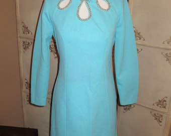 Vintage 1960's Alfred Werber Exotic Blue Sheath Dress with Jeweled Collar and Pearl-outlined Key-hole Detail.