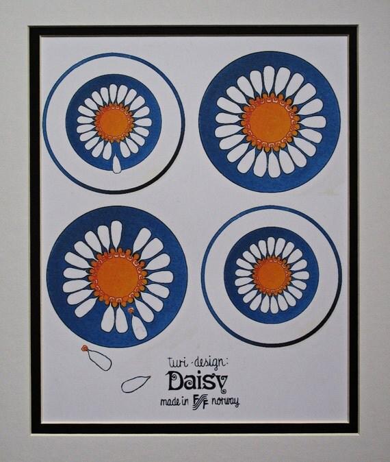 Daisy Kitchen Decor: Items Similar To Art Poster, Figgjo Flint Turi Daisy