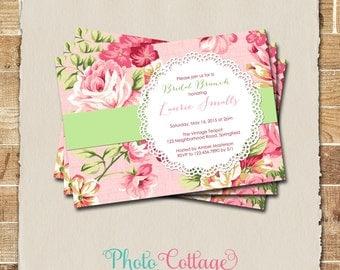 Shabby Chic Bridal Brunch Invitation, Bridal Shower Invitation, Floral Invitation, Lace Invitation, Vintage Shower Invitations BS138