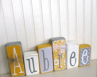Customized Children Nursery Name Blocks Pick Your Colors