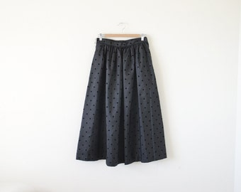 Vintage CHAUS full skirt / black polka dot skirt / Medium