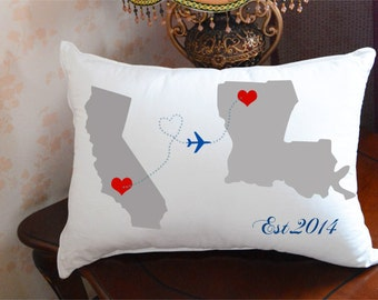 Custom Wedding Pillow,State to State Pillow Cover,Personalized State Pillow Case,Cotton Cushion Case,Bedding Pillowcase,Engagement Gift 3558