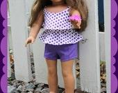 American Girl Purple polka dot ruffled tank top, purple pintuck shorts, and crocheted lacy hat