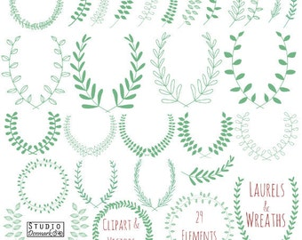 Laurel Wreath Clipart and Vectors - Hand Drawn Leaf Branches Clip Art - Green Laurel Branches Commercial and Personal Use Instant Download