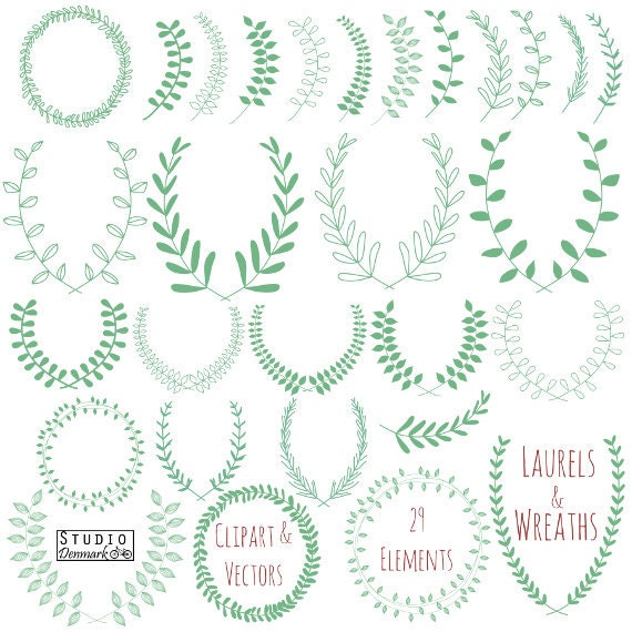 Laurel Wreath Clipart And Vectors Hand Drawn Leaf Branches
