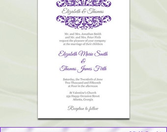 Purple And Silver Wedding Invitation Template, Diy Printable Bridal Shower  Party Invites, Editable Text