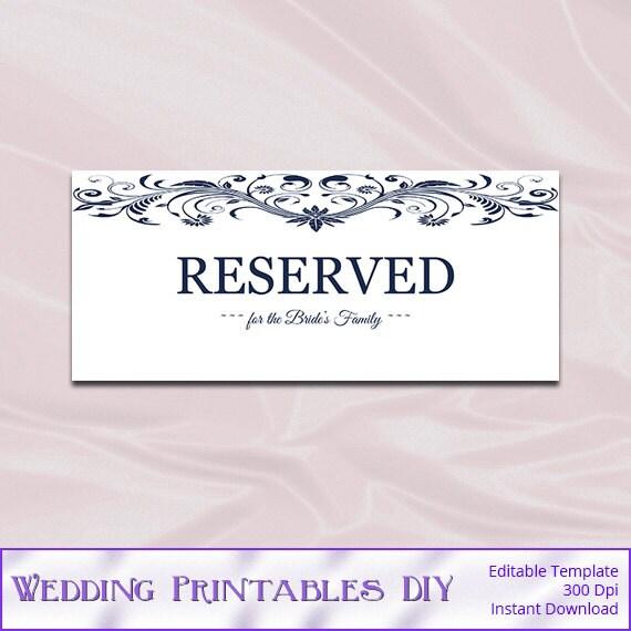 items similar to wedding reserved sign template white navy blue elegant printable table. Black Bedroom Furniture Sets. Home Design Ideas