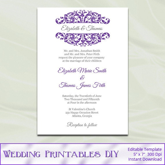 Purple and Silver Wedding Invitation Template Diy Printable