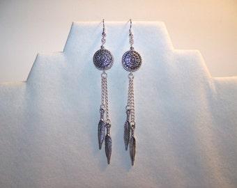 Southwest Earrings~Native American Earrings; Southwest jewelry; feather charm; Native American; Native American jewelry; feather earrings