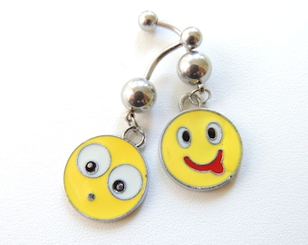 SALE .. Smiley Face Belly Button Ring, Minion Belly Button Ring, Charm Navel Ring, Navel Piercing, Belly Button Jewelry, Body Jewelry. 254