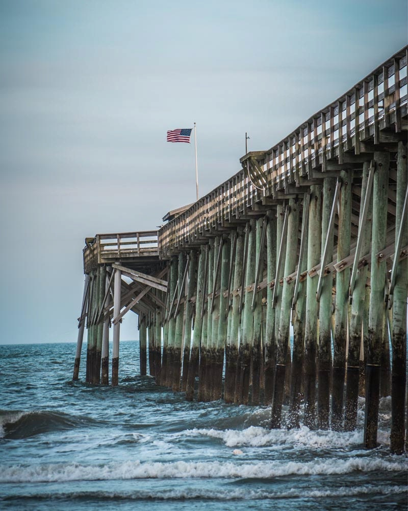 Pawleys Island Beach: Pawleys Island Pier With American Flag 8x10 Print Beach