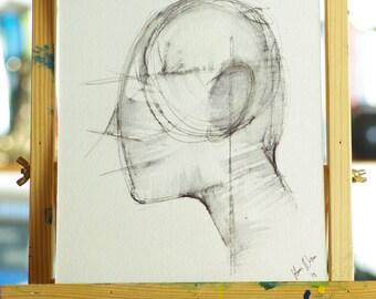 Abstract man, Abstract, original Hans Nissen watercolor painting.
