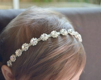 Rhinestone headband, flower girl, girl headband, newborn headband, photo prop, newborn headband, baby headband