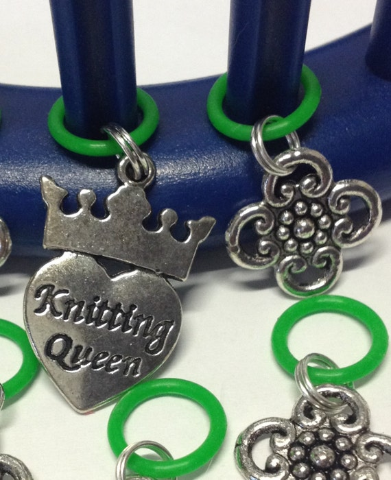 Knitting Loom Stitch Marker Charms set of 6 Knitting Queen